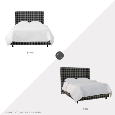 Daily Find: Lulu and Georgia Adara Bed in Prep School Plaid vs. Wayfair Gracie Oaks Bellbrook Wingback Bed, plaid upholstered bed look for less, copycatchic luxe living for less, budget home decor and design, daily finds, home trends, sales, budget travel and room redos
