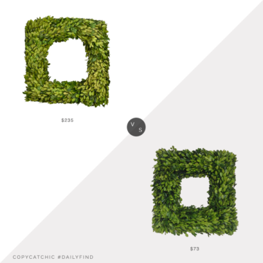 Daily Find: Macy's Mills Floral Square Preserved Boxwood Wreath vs. Amazon Mills Floral Preserved Boxwood Wreath, boxwood wreath look for less, copycatchic luxe living for less, budget home decor and design, daily finds, home trends, sales, budget travel and room redos