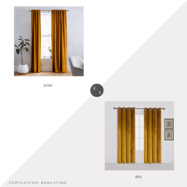 Daily Find: West Elm Cotton Luster Velvet Curtains in Golden Oak, Set of 2 vs. Amazon Cherry Home Luxury Velvet Set of 2 Mustard Curtains, yellow velvet curtains look for less, copycatchic luxe living for less, budget home decor and design, daily finds, home trends, sales, budget travel and room redos