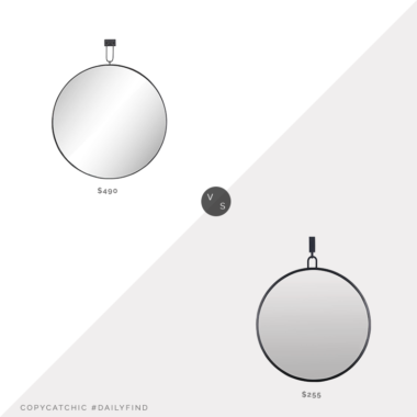 Daily Find: Kathy Kuo Dawes Industrial Loft Iron Mirror vs. Build.com Varaluz Stopwatch Metal Mirror, round black wall mirror, copycatchic luxe living for less, budget home decor and design, daily finds, home trends, sales, budget travel and room redos