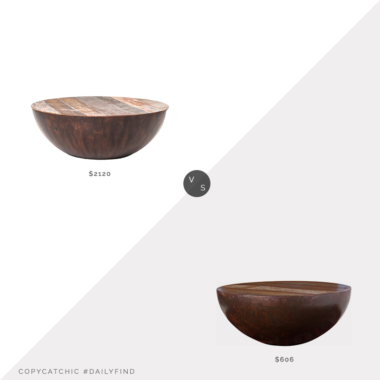 Daily Find: Kathy Kuo Rod Rustic Pieced Wood Half Moon Coffee Table vs. Houzz Reese Round Coffee Table, round wood coffee table look for less, copycatchic luxe living for less, budget home decor and design, daily finds, home trends, sales, budget travel and room redos
