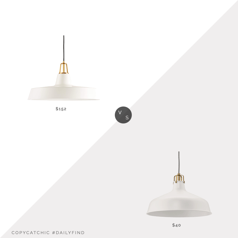 Daily Find: Crate & Barrel Maddox White Farmhouse Pendant vs. IKEA Ranarp Pendant Lamp, white pendant light look for less, copycatchic luxe living for less, budget home decor and design, daily finds, home trends, sales, budget travel and room redos