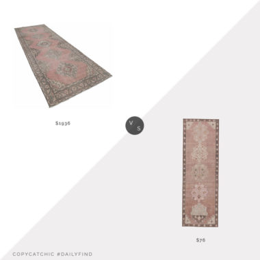 Daily Find: Perigold Hand-Knotted Vintage Runner vs. Wayfair Foundry Select Guiterrez Runner, pink rug look for less, copycatchic luxe living for less, budget home decor and design, daily finds, home trends, sales, budget travel and room redos