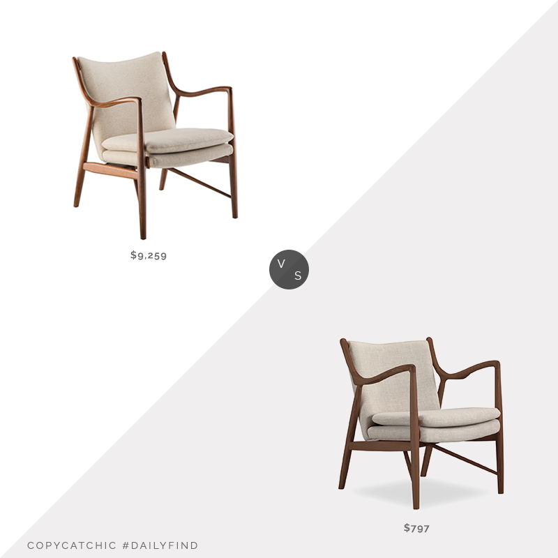 Daily Find: Danish Design Store Finn Juhl 45 Chair vs. Kardiel Copenhagen Fabric Armchair, Finn Juhl 45 Chair look for less, copycatchic luxe living for less, budget home decor and design, daily finds, home trends, sales, budget travel and room redos