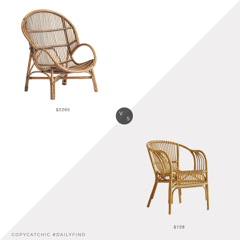 Daily Find: 1st Dibs Rattan Midcentury Style Armchair vs. Anthropologie Pari Rattan Chair, rattan armchair look for less, copycatchic luxe living for less, budget home decor and design, daily finds, home trends, sales, budget travel and room redos