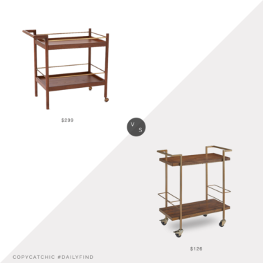 Daily Find: West Elm Mid-Century Bar Cart vs. Amazon Finch Maxwell Bar Cart, mid century bar cart look for less, copycatchic luxe living for less, budget home decor and design, daily finds, home trends, sales, budget travel and room redos