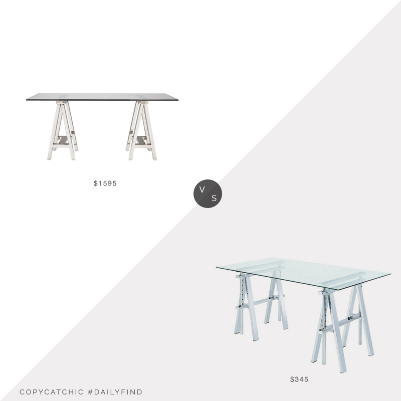 Daily Find: Williams Sonoma Mason Glass Top Desk vs. Home Depot Benjara Rectangular Writing Desk, glass desk look for less, copycatchic luxe living for less, budget home decor and design, daily finds, home trends, sales, budget travel and room redos