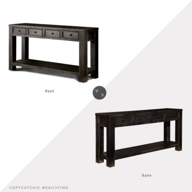 Daily Find: Joss & Main Rentz Console Table vs. Wayfair Calvin Console Table, black wood console table look for less, copycatchic luxe living for less, budget home decor and design, daily finds, home trends, sales, budget travel and room redos