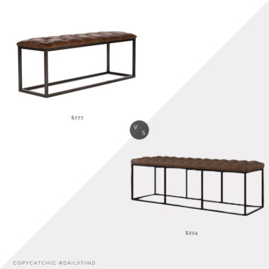 Daily Find: Bellacor Sarreid Cologne Long Stool vs. Wayfair Greyleigh Thrapst Faux Leather Bench, tufted leather bench look for less, copycatchic luxe living for less, budget home decor and design, daily finds, home trends, sales, budget travel and room redos