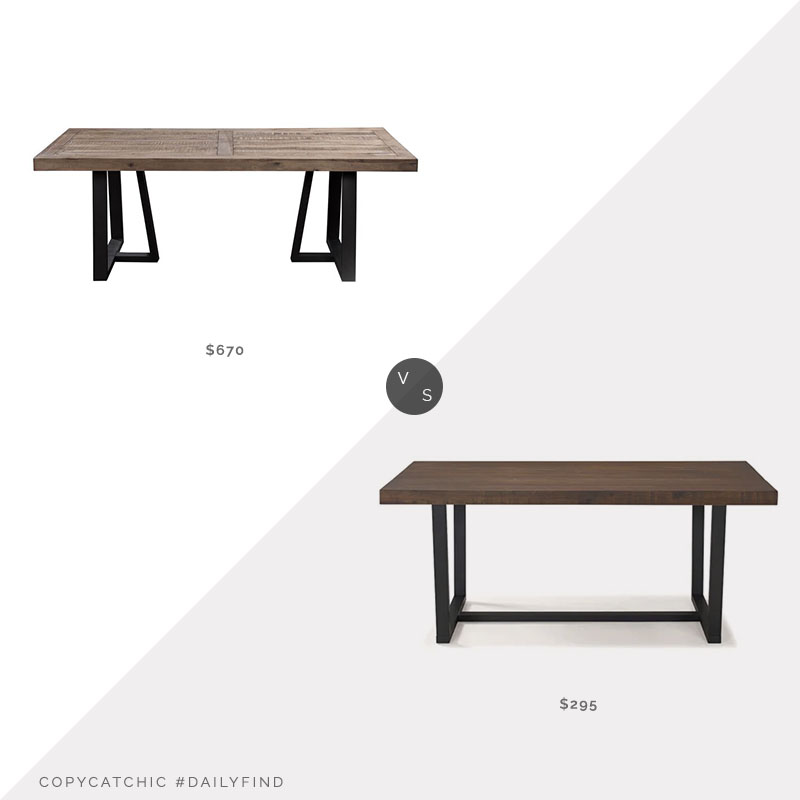 Daily Find: Joss & Main Stephen Pine Solid Wood Dining Table vs. Wayfair Minerva Pine Solid Wood Dining Table, wood dining table metal base look for less, copycatchic luxe living for less, budget home decor and design, daily finds, home trends, sales, budget travel and room redos