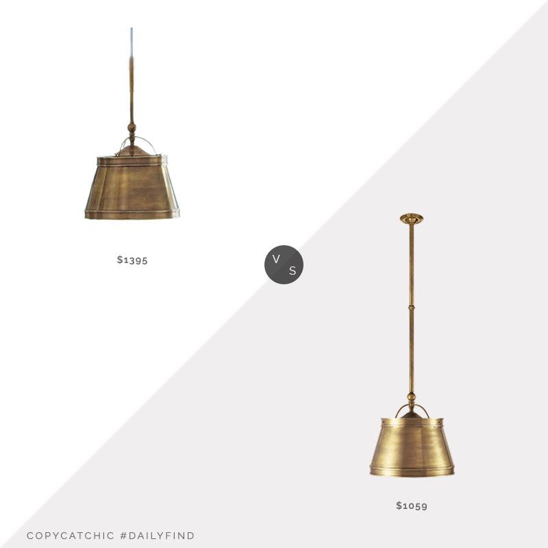 Daily Find: William Sonoma Sloane Single Pendant vs. Circa Lighting Sloane Single Pendant, brass pendant light look for less, copycatchic luxe living for less, budget home decor and design, daily finds, home trends, sales, budget travel and room redos