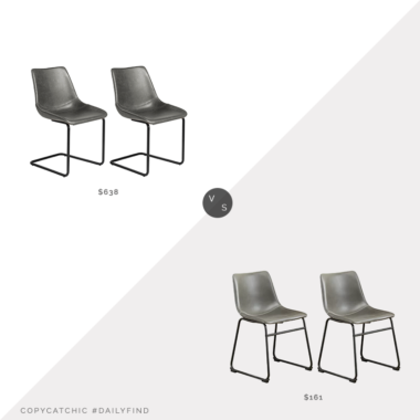 Daily Find: Inmod Flynn Side Chairs (set of 2) vs. Wayfair Bamey Upholstered Side Chairs (set of 2), gray leather dining chairs look for less, copycatchic luxe living for less, budget home decor and design, daily finds, home trends, sales, budget travel and room redos