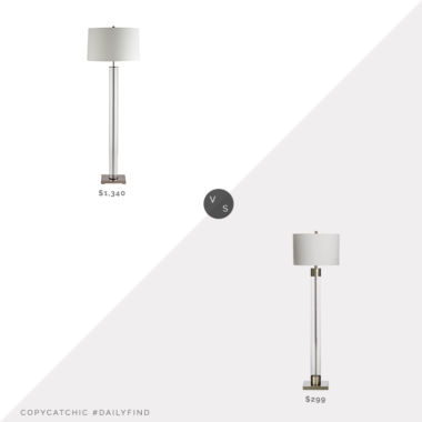 Daily Find: Arteriors Norman Floor Lamp vs. Crate & Barrel Avenue Nickel Floor Lamp, glass column floor lamp look for less, copycatchic luxe living for less, budget home decor and design, daily finds, home trends, sales, budget travel and room redos