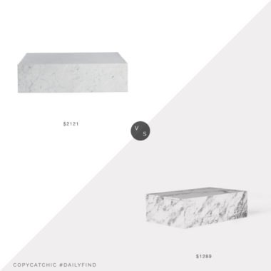 Daily Find: Design Within Reach Plinth Coffee Table vs. 2B Mod Draper Slab Table, marble slab coffee table look for less, copycatchic luxe living for less, budget home decor and design, daily finds, home trends, sales, budget travel and room redos