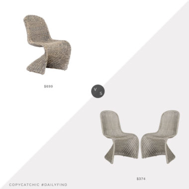 Daily Find: Lulu and Georgia Manila Dining Chair vs. Home Threads Tana Wicker Side Chair set of 2, wicker dining chair look for less, copycatchic luxe living for less, budget home decor and design, daily finds, home trends, sales, budget travel and room redos
