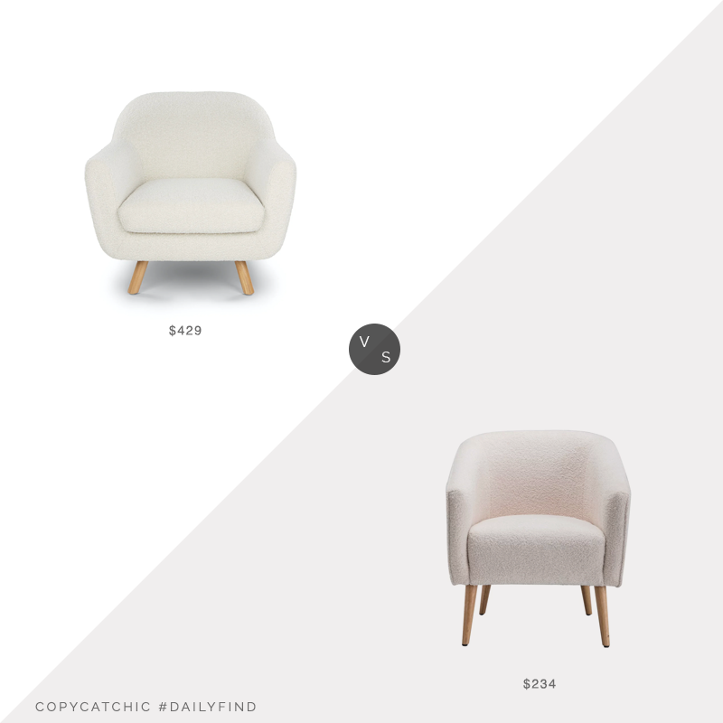 Daily Find: Article Ivory Bouclé Fabric Lounge Chair vs. Joss & Main Schooley Faux Shearling Barrel Chair, shearling chair look for less, copycatchic luxe living for less, budget home decor and design, daily finds, home trends, sales, budget travel and room redos