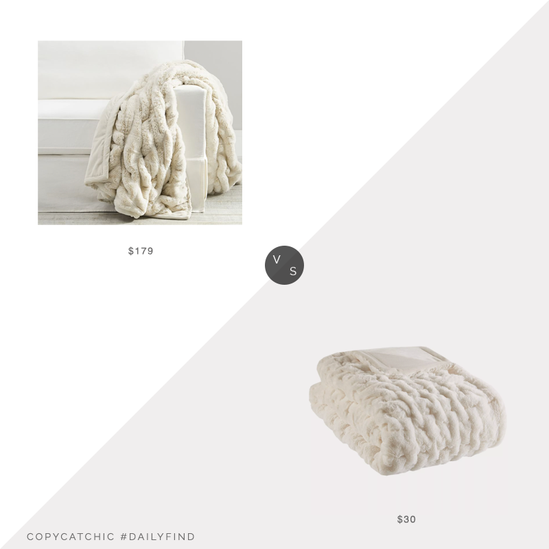 Daily Find: Pottery Barn Faux Fur Ruched Throw Blanket vs. Target Ruched Faux Fur Throw Blanket, faux fur throw look for less, copycatchic luxe living for less, budget home decor and design, daily finds, home trends, sales, budget travel and room redos