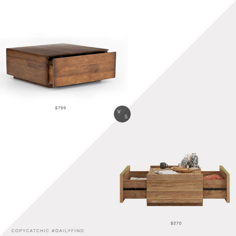 Daily Find: Pottery Barn Parkview Reclaimed Wood Coffee Table vs. Wayfair Union Rustick Tylor Block Coffee Table, wood coffee table with drawers look for less, copycatchic luxe living for less, budget home decor and design, daily finds, home trends, sales, budget travel and room redos