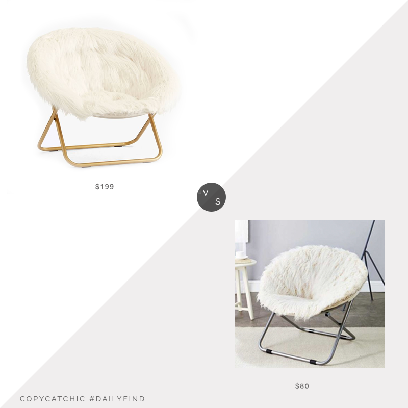 Daily Find: Pottery Barn Teen Himalayan Hang-A-Round Chairvs. Balfour Fur Moon Chair, fur chair look for less, copycatchic luxe living for less, budget home decor and design, daily finds, home trends, sales, budget travel and room redos