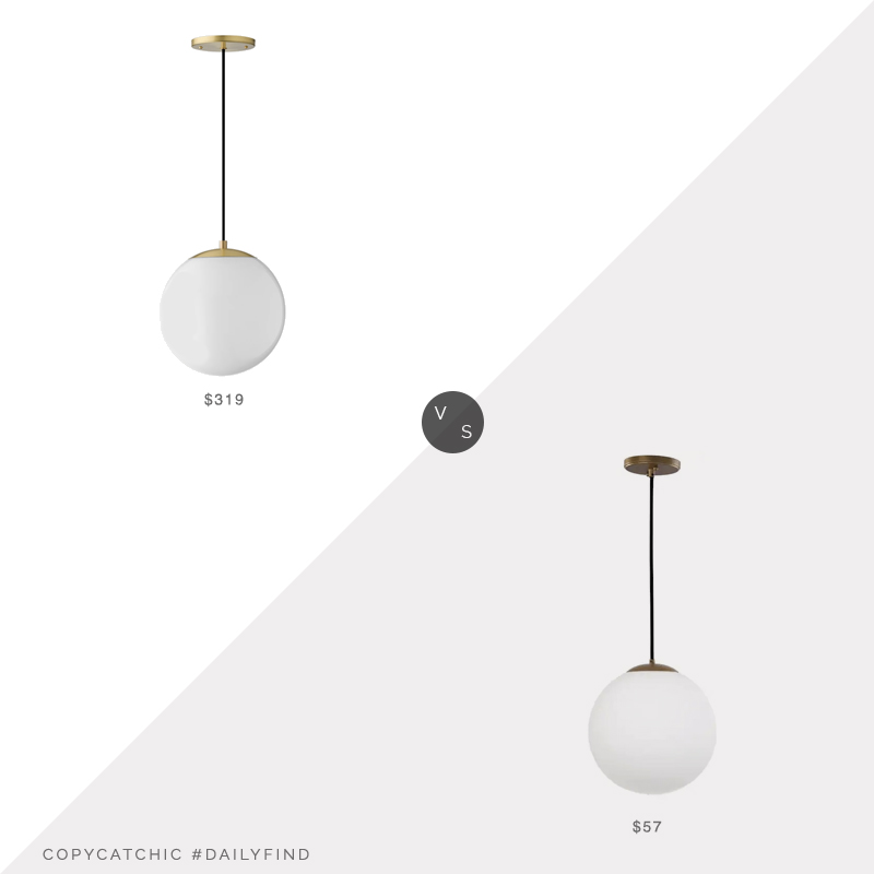 Daily Find: Schoolhouse Luna Cord Pendant vs. Lowes Safavieh Nelda Globe Pendant Light, frosted pendant light look for less, copycatchic luxe living for less, budget home decor and design, daily finds, home trends, sales, budget travel and room redos