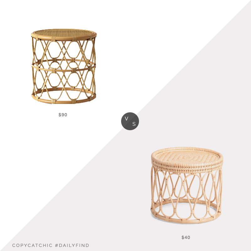 Daily Find: Target Opalhouse Jewel Round Side Table vs. TJ Maxx Rattan Table, rattan side table look for less, copycatchic luxe living for less, budget home decor and design, daily finds, home trends, sales, budget travel and room redos