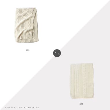 Daily Find: The Company Store Cable Knit Throw vs. Amazon NoJo Kimberly Grant Cable Knit Blanket, cable knit throw look for less, copycatchic luxe living for less, budget home decor and design, daily finds, home trends, sales, budget travel and room redos