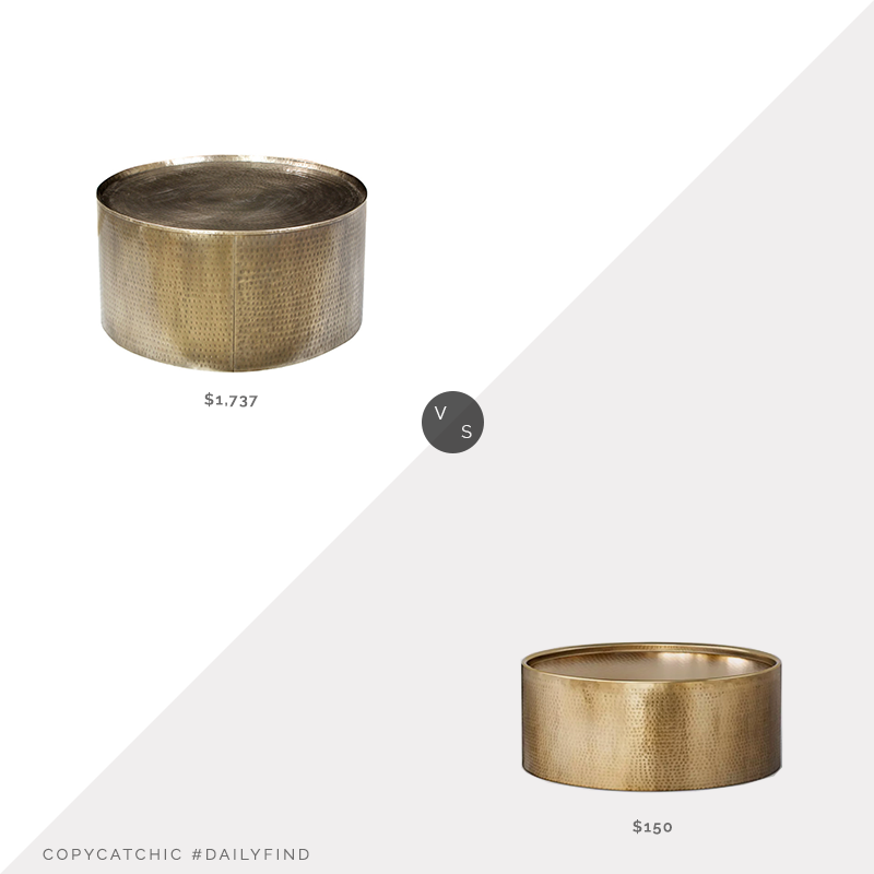 Daily Find: Houzz Hammered Brass Coffee Table vs. Target Manila Hammered Drum Coffee Table, brass hammered coffee table look for less, copycatchic luxe living for less, budget home decor and design, daily finds, home trends, sales, budget travel and room redos