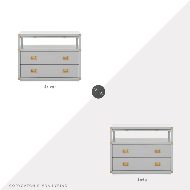 Daily Find: McGee & Co Kelan 2-Drawer Nightstand vs. Kathy Kuo Bobby 2-Drawer Nightstand, gray campaign nightstand look for less, copycatchic luxe living for less, budget home decor and design, daily finds, home trends, sales, budget travel and room redos