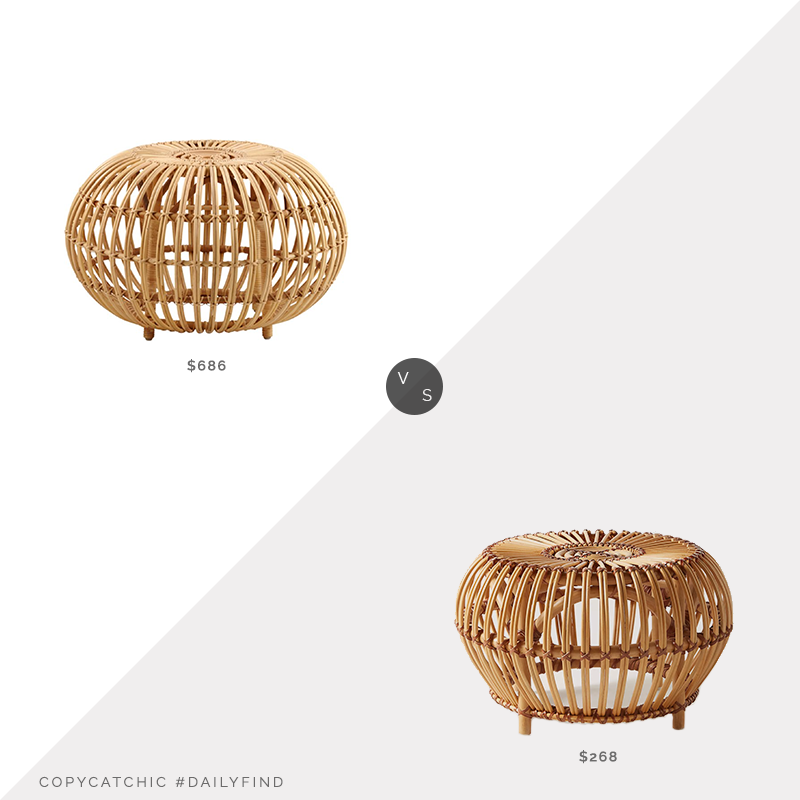 Daily Find: One Kings Lane Sika Design Albini Ottoman vs. Anthropologie Susila Ottoman, rattan ottoman look for less, copycatchic luxe living for less, budget home decor and design, daily finds, home trends, sales, budget travel and room redos