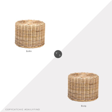 Daily Find: World Market Natural Woven Rattan Portola Stool vs. Overstock East at Main's Krukka Natural Rattan Stool, rattan foot stool look for less, copycatchic luxe living for less, budget home decor and design, daily finds, home trends, sales, budget travel and room redos