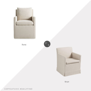 Daily Find: Arhaus Oscar Dining Chair vs. World Market Linen Elena Rolling Armchair Dining Chair, skirted dining chair look for less, copycatchic luxe living for less, budget home decor and design, daily finds, home trends, sales, budget travel and room redos
