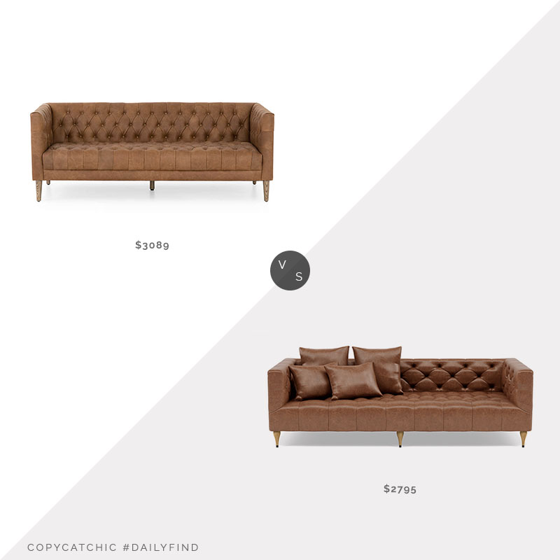 Daily Find: Crate and Barrel Rollins Leather Tufted Sofa vs. Interior Define Ms. Chesterfield Leather Sofa, tufted leather sofa look for less, copycatchic luxe living for less, budget home decor and design, daily finds, home trends, sales, budget travel and room redos