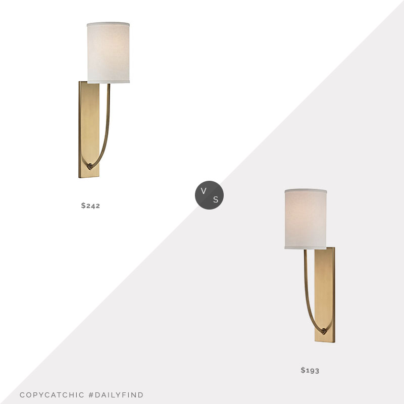 Daily Find: Hudson Valley Lighting Colton Wall Sconcevs. Lumens Colton Wall Sconce, brass wall sconce look for less, copycatchic luxe living for less, budget home decor and design, daily finds, home trends, sales, budget travel and room redos