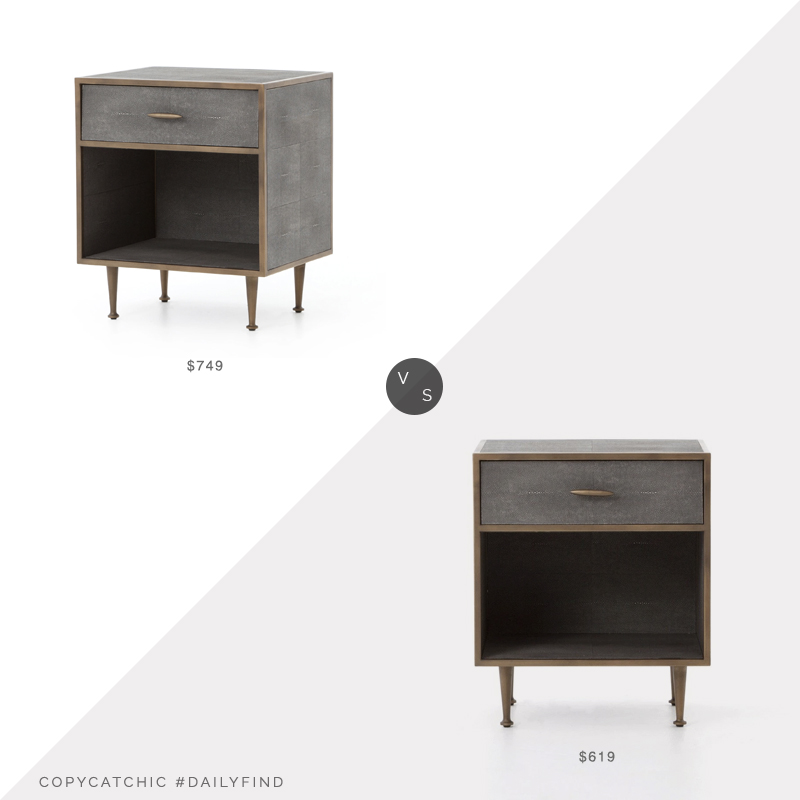Daily Find: Burke Decor Shagreen Bedside Table vs. Elm and Iron Draper Bedside Table, shagreen nightstand look for less, copycatchic luxe living for less, budget home decor and design, daily finds, home trends, sales, budget travel and room redos
