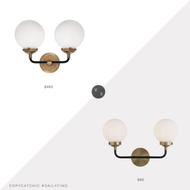 Daily Find: Lumens Bistro Brass Bathbar vs. Amazon Jonathan Y Two Light Sconce, globe double sconce look for less, copycatchic luxe living for less, budget home decor and design, daily finds, home trends, sales, budget travel and room redos