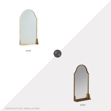Daily Find: Anthropologie Evey Shelved Mirror vs. West Elm Metal Arch Shelf Mirror, mirror with shelf look for less, copycatchic luxe living for less, budget home decor and design, daily finds, home trends, sales, budget travel and room redos