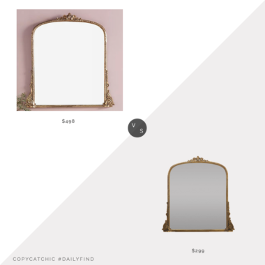 Daily Find: Anthropologie Gleaming Primrose Mirror vs. Structube PASCALE Gold Iron Framed Mirror, brass mirror look for less, copycatchic luxe living for less, budget home decor and design, daily finds, home trends, sales, budget travel and room redos
