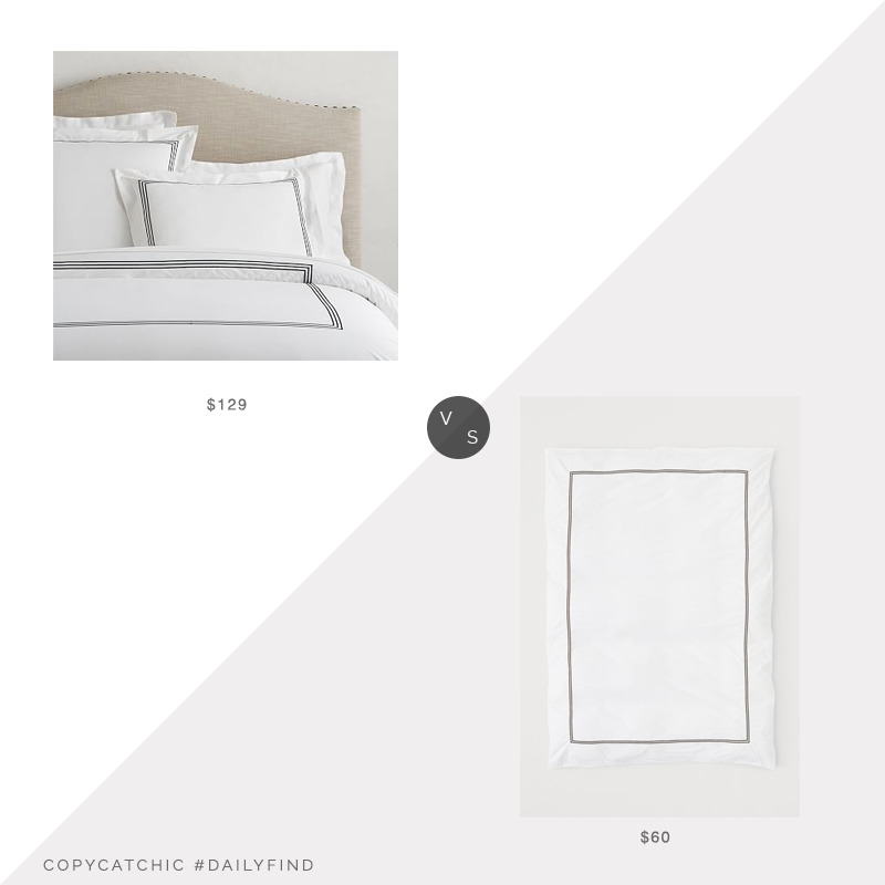 Daily Find: Pottery Barn Grand Organic Percale Duvet Cover vs. H&M Home Cotton Percale Duvet Cover, hotel bedding look for less, copycatchic luxe living for less, budget home decor and design, daily finds, home trends, sales, budget travel and room redos