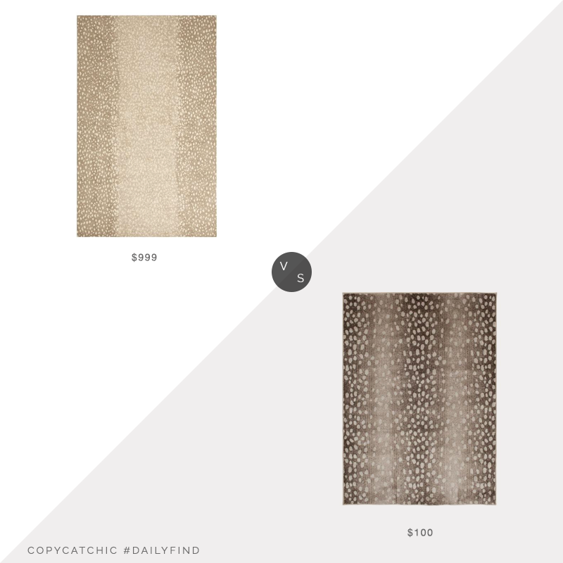 Daily Find: Pottery Barn Sarrel Handwoven Wool Rug vs. The Home Depot Bazaar Iridessa Animal Print Rug, antelope print rug look for less, copycatchic luxe living for less, budget home decor and design, daily finds, home trends, sales, budget travel and room redos