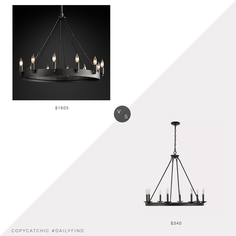 Daily Find: Restoration Hardware Camino Vintage Round Chandelier vs. Kirklands Bronze Circle Chandelier, RH chandelier look for less, copycatchic luxe living for less, budget home decor and design, daily finds, home trends, sales, budget travel and room redos