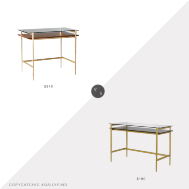 Daily Find: West Elm Mid-Century Art Display Mini Desk vs. Wayfair Everly Quinn Wortham Glass Desk, display desk look for less, copycatchic luxe living for less, budget home decor and design, daily finds, home trends, sales, budget travel and room redos