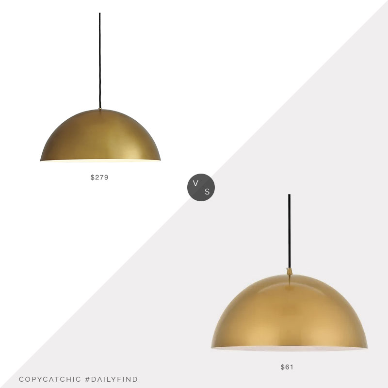 Daily Find: Room and Board Aurora Dome Pendant vs. Target Elegant Lighting Pendant, gold pendant light look for less, copycatchic luxe living for less, budget home decor and design, daily finds, home trends, sales, budget travel and room redos