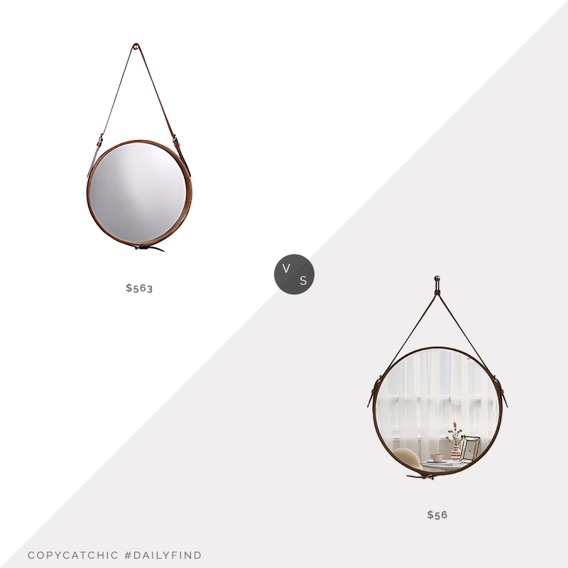 Daily Find: Lamps Plus Jamie Young Leather Strap Round Mirror vs. Amazon HofferRuffer Round Wall Mirror, leather strap mirror look for less, copycatchic luxe living for less, budget home decor and design, daily finds, home trends, sales, budget travel and room redos