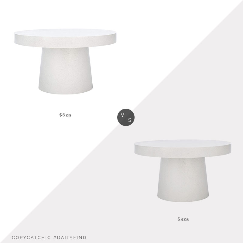 Daily Find: Houzz Contemporary Round Coffee Table vs. Wayfair Chumley Pedestal Coffee Table, modern white coffee table look for less, copycatchic luxe living for less, budget home decor and design, daily finds, home trends, sales, budget travel and room redos