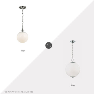 Daily Find: Perigold Mark Sikes Globe Pendant vs. Perigold TOB by Thomas O'Brien Globe Pendant, nickel globe pendant light look for less, copycatchic luxe living for less, budget home decor and design, daily finds, home trends, sales, budget travel and room redos