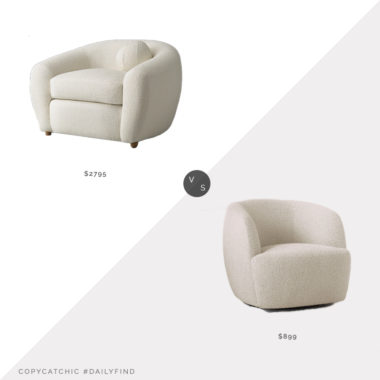 Daily Find: Restoration Hardware Sylvain Chair vs. CB2 Gwyneth Ivory Boucle Chair, boucle chair look for less, copycatchic luxe living for less, budget home decor and design, daily finds, home trends, sales, budget travel and room redos