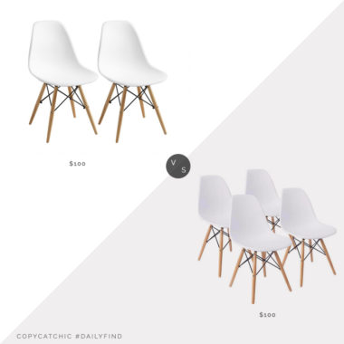 Daily Find: World Market Evie Molded Chair Set of 2 vs. Walmart Mid-Century Dining Chair Set of 4, eames eiffel chairs look for less, copycatchic luxe living for less, budget home decor and design, daily finds, home trends, sales, budget travel and room redos