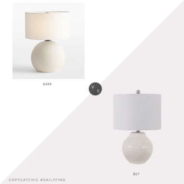 Daily Find: Rejuvenation Folk Abigail Ball Table Lamp vs. Lowe's Safavieh Zaid Table Lamp, white table lamp look for less, copycatchic luxe living for less, budget home decor and design, daily finds, home trends, sales, budget travel and room redos