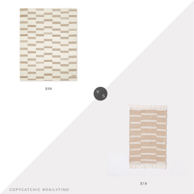 Daily Find: Lulu and Georgia Stripe Break Rug by Sarah Sherman Samuelvs. Target Rossmoor Indoor/Outdoor Plaid Scatter Rug Tan, beige white stripe rug look for less, copycatchic luxe living for less, budget home decor and design, daily finds, home trends, sales, budget travel and room redos