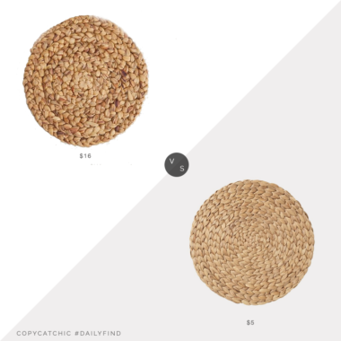 Daily Find: Pottery Barn Round Water Hyacinth Placemat vs. IKEA SOARÉ Place Mat, Water Hyacinth, hyacinth placemat look for less, copycatchic luxe living for less, budget home decor and design, daily finds, home trends, sales, budget travel and room redos